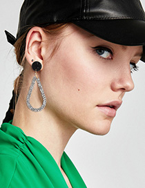 Fashion Black Full Diamond Decorated Hollow Out Earrings