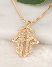 Fashion Gold Color Palm Pendant Decorated Necklace