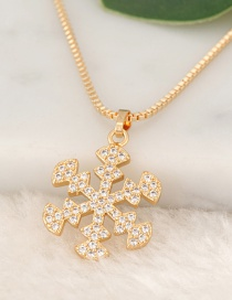 Fashion Gold Color Snowflake Pendant Decorated Necklace