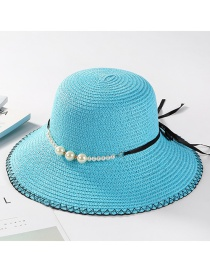 Fashion Blue Pearl Decorated Hat