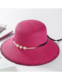 Fashion Plum Red Pearl Decorated Hat