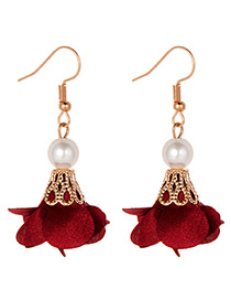 Fashion Claret-red Flower Shape Decorated Earrings