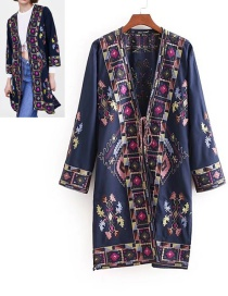 Fashion Navy Flower Pattern Decorated Kimono