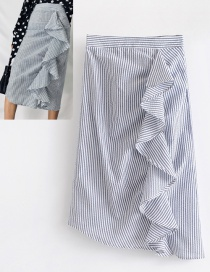 Fashion Blue Stripe Pattern Decorated Skirt