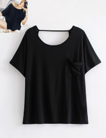 Fashion Black Pure Color Decorated Backless T-shirt