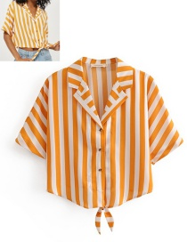 Fashion Orange Stripe Pattern Decorated Shirt