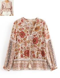 Fashion Khaki V Neckline Design Flower Pattern Decorated Blouse