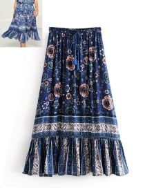 Fashion Navy Tassel Decorated Flower Pattern Blouse