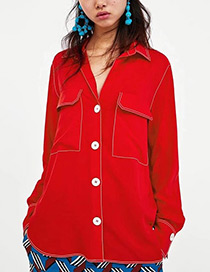 Fashion Red Pure Color Decorated Shirt