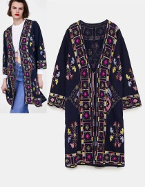 Fashion Dark Blue Flowers Decorated Long Sleeves Kimono