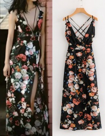 Fashion Black Flowers Pattern Decorated V Neckline Dress