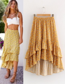 Fashion Yellow Flowers Pattern Decorated Skirt