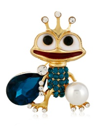 Fashion Blue Full Diamond Decorated Ant Brooch