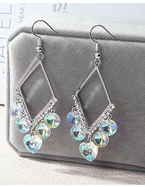 Fashion Silver Color Rhombus Shape Design Earrings