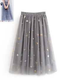 Fashion Gray Embroidery Design Simple Skirt