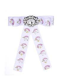 Fashion White Unicorn Pattern Decorated Bowknot Brooch