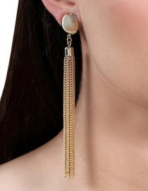 Fashion Gold Color Tassel Decorated Pure Color Long Earrings