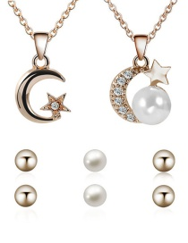 Fashion Gold Color Moons Pendant Decorated Jewelry Sets(5pcs)
