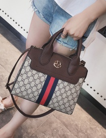 Fashion Coffee Color Matching Decorated Shoulder Bag