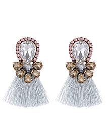 Fashion Gray Water Drop Shape Decorated Earrings