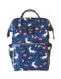 Fashion Blue Unicorn Pattern Decorated Backpack