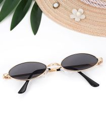Fashion Black Oval Shape Decorated Sun Glasses