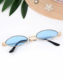 Fashion Blue Oval Shape Decorated Sun Glasses