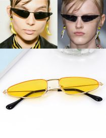 Fashion Yellow Triangle Shape Decorated Sun Glasses