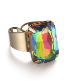 Fashion Multi-color Square Shape Decorated Opening Ring