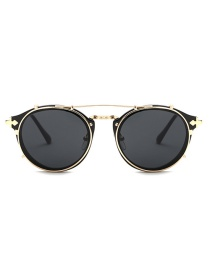 Fashion Black Round Shape Decorated Sun Glasses
