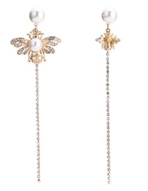 Fashion Gold Color Bee&pearls Decorated Long Tassel Earrings