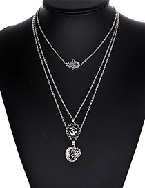 Fashion Silver Color Sun Pendant Decorated Multi-layer Necklace