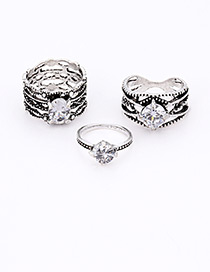 Fashion Silver Color Diamond Decorated Multi-layer Ring (3pcs)
