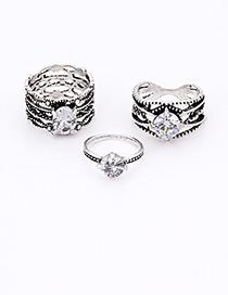 Fashion Silver Color Diamond Decorated Multi-layer Ring (3pcs)