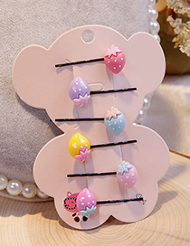 Lovely Multi-color Strawberry Decorated Hair Clips(6pcs)