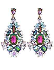 Fashion Multi-color Geometric Shape Design Hollow Out Earrings