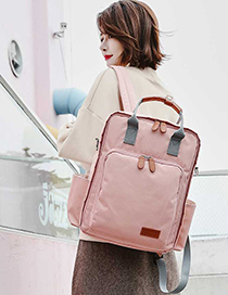 Fashion Pink Fashion Red Pure Color Decorated Backpack