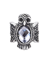 Fashion Silver Color Owl Shape Decorated Ring