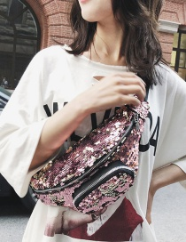 Fashion Pink Zipper Decorated Shoulder Bag