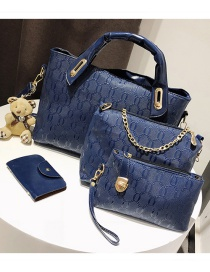 Fashion Blue Pure Color Decorated Shoulder Bag (4 Pcs )