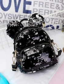 Fashion Black Ear Decorated Paillette Backpack