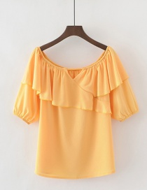 Fashion Orange Pure Color Decorated Blouse