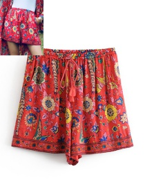 Fashion Red Peacock&flowers Pattern Decorated Shorts