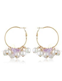 Elegant White Pearls&round Shape Decorated Earrings