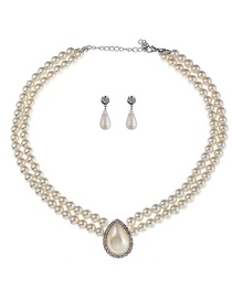 Elegant White Pearls Decorated Double Layer Jewelry Sets
