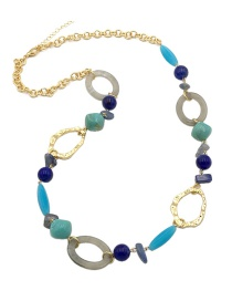 Fashion Blue Circular Ring Decorated Long Necklace