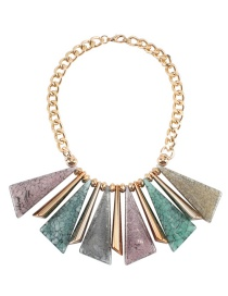Fashion Multi-color Triangle Shape Decorated Color Matching Necklace(not Set)