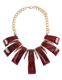 Fashion Red Pure Color Design Irregular Shape Necklace(not Set)