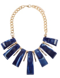 Fashion Blue Pure Color Design Irregular Shape Necklace(not Set)