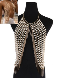 Fashion Gold Color Tassel&pearls Decorated Multi-layer Chest Chain